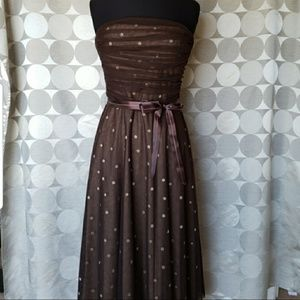BCBG Maxazria brown polka dot strapless dress Med